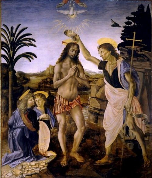 美術検定【ルネサンス】ヴェロッキオ「キリストの洗礼」